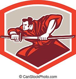 guerrier, bouclier, katana, épée samouraï, dessin