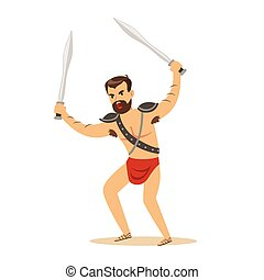 guerrier, caractère, épées, deux, illustration, dénudée, ...