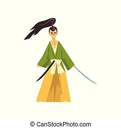 guerrier, caractère, japonaise, illustration, traditionnel, samouraï, vecteur, fond, blanc, armé, dessin animé, vêtements