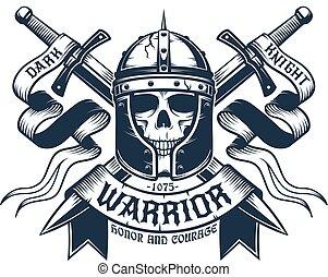 guerrier, crâne, casque