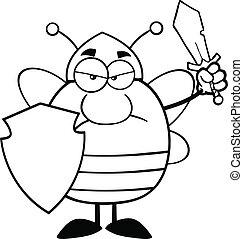 guerrier, fâché, noir, blanc, abeille
