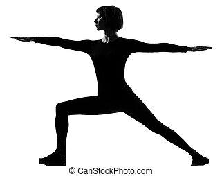 guerrier, femme, yoga, postion, virabhadrasana, 2