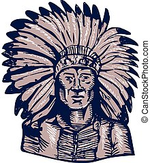 guerrier, graver, américain, chef, indien, indigène