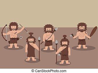 guerrier, homme cavernes, graphique, plat