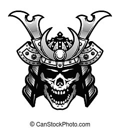 guerrier, illustration., skull., samouraï, vecteur, noir, casque, blanc, style.