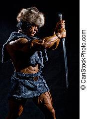 guerrier, mâle, épée, formulaire, barbare