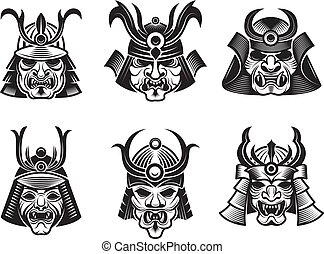 guerrier, martial, masks., armure, shogun, japonaise, isolé, samouraï, vecteur, noir, asiatique, illustrations
