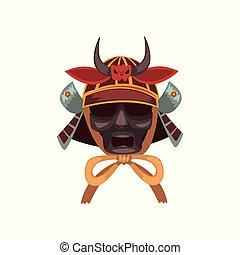 guerrier, masque, illustration, samouraï, vecteur, fond, blanc, guerre, effrayant