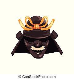 guerrier, masque, japonaise, illustration, samouraï, vecteur, fond, blanc, guerre, effrayant