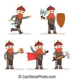 guerrier, mettez stylique, nain, illustration