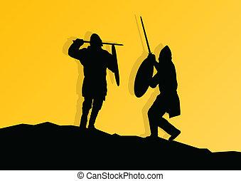 guerrier, moyen-âge, chevalier, baston, vecteur, fond