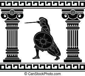 guerrier, noir, colonnes