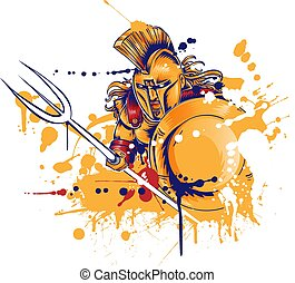 guerrier, romain, trident