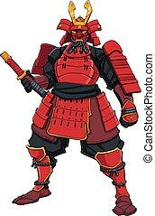 guerrier, rouges, samouraï