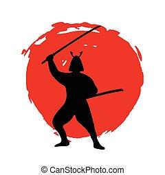 guerrier, silhouette, samouraï, lune, arrière-plan., blanc rouge