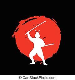 guerrier, silhouette, samouraï, lune, arrière-plan., rouge noir