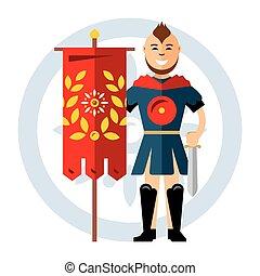 guerrier, style, illustration., coloré, plat, flag., spartan, vecteur, dessin animé, rouges