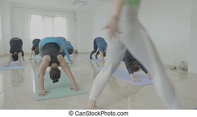 guerrier, vieilli, groupe, femmes fonctionnement, pose, exercisme, milieu, quoique, studio, pendant, fitness, instructeur yoga, classe, dehors