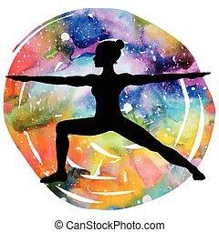 guerrier, yoga, pose., virabhadrasana, 2, silhouette., ...
