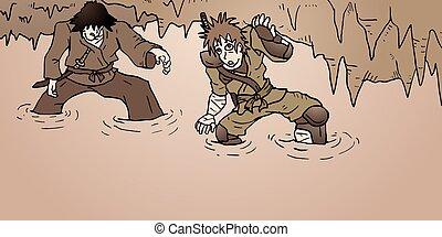 guerrieri, caverna, illustrazione, pericolo