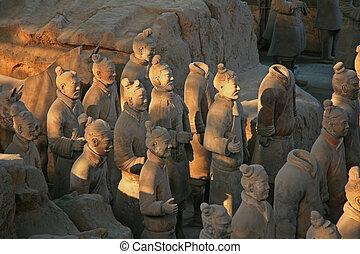 guerrieri, terracotta, xian