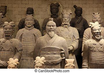 guerrieri, xian, terracotta, porcellana, famoso