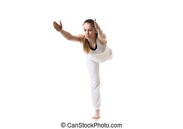 guerriero, 3, atteggiarsi, yoga