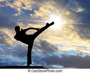guerriero, addestramento, a, il, tramonto