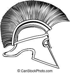 guerriero, antico, casco, greco, nero, bianco