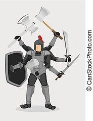 guerriero, cavaliere, illustrazione, vettore, sovrumano, cartone animato