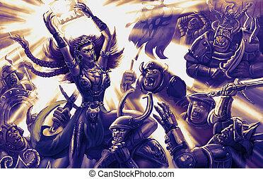 guerriero, diavoli, esercito, ardendo, libro, strega, spaventi