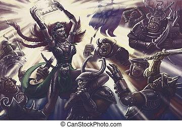 guerriero, donna, magia, esercito, luce, orcs, contro