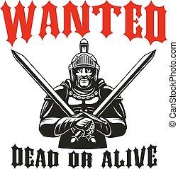 guerriero, gladiator, cavaliere, vettore, segno