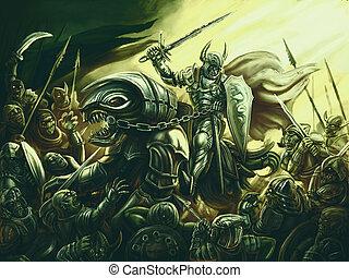 guerriero, luce, oscurità, contro, esercito