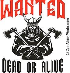 guerriero, morto, segno, vivo, desiderato, o