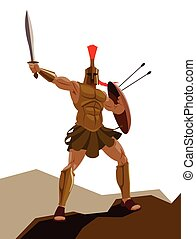 guerriero, scudo, armatura, arrabbiato, hoplite, spada, presa a terra, spartan