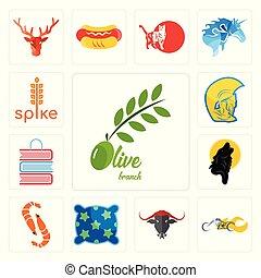 guerriero, set, negozio, icone, ramo, punta, gamberetto, libro, nero, selettore rotante, oliva, lupo, cuscino, testa