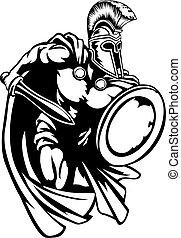 guerriero, trojan, antico, spartan, greco, romano, o, gladiator