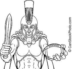 guerriero, trojan, donna, spartan, football, gladiator