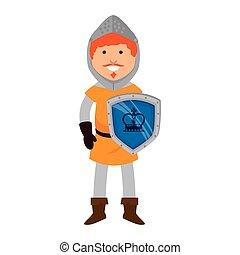 guerriero, uomo, cartone animato, medievale