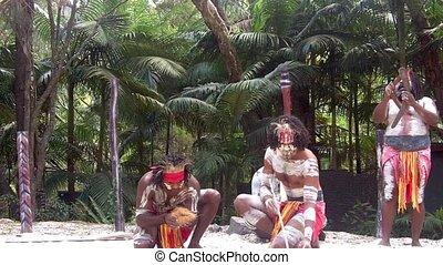 guerriers, aborigène, australie, hommes