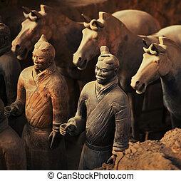 guerriers, chevaux