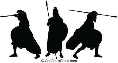 guerriers, silhouettes, ancien