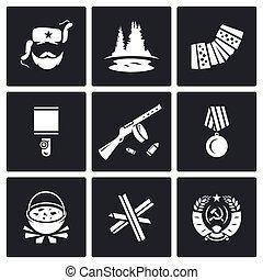 Guerrillas warrior icons set. Vector Illustration. - Vector...