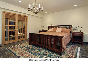Guest bedroom with french doors - Guest bedroom with oak...