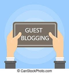 Guest blogging sign. Hand holding black banner.