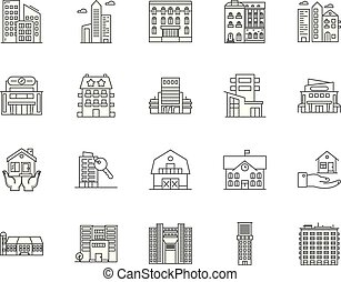 Guest house line icons, signs, vector set, outline ...