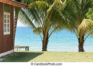 guest house on beach - wooden guest house at tropical beach,...