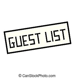 GUEST LIST stamp on white. Stamps and advertisement labels ...