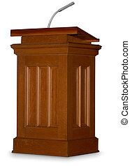 Guest Speaker - Oak podium isolated on white background with...